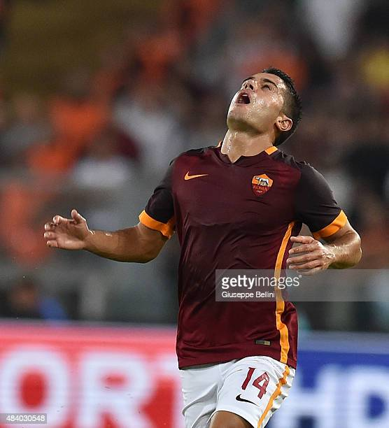 Iago Falque of AS Roma reacts during the preseason friendly match between AS Roma and Sevilla FC at Olimpico Stadium on August 14 2015 in Rome Italy