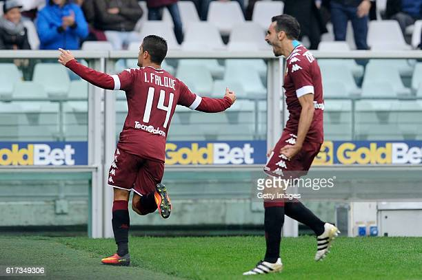 Iago Falque of FC Torino celebrates a goal with his team mate during the Serie A match between FC Torino and SS Lazio at Stadio Olimpico di Torino on...