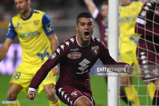 Iago Falque of FC Torino celebrates after scoring the opening goal during the Serie A match between FC Torino and AC ChievoVerona at Stadio Olimpico...