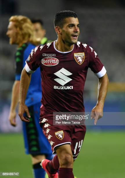 Iago Falque of FC Torino celebrates his first goal during the Serie A match between FC Torino and US Sassuolo at Stadio Olimpico di Torino on May 28...