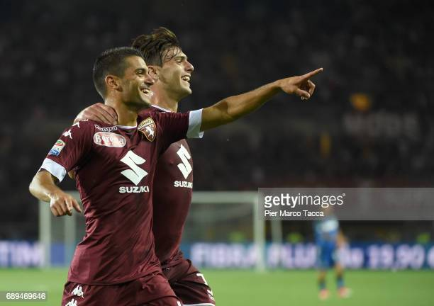Iago Falque of FC Torino celebrates his first goal with Lucas Boye of FC Torino during the Serie A match between FC Torino and US Sassuolo at Stadio...
