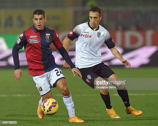 Iago Falque of Genoa and Antonio Mazzotta of Cesena in action during the Serie A match between AC Cesena and Genoa CFC at Dino Manuzzi Stadium on...