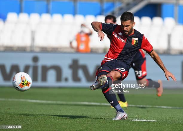 Iago Falque of Genoa CFC scores the first goal during the Serie A match between Brescia Calcio and Genoa CFC at Stadio Mario Rigamonti on June 27,...