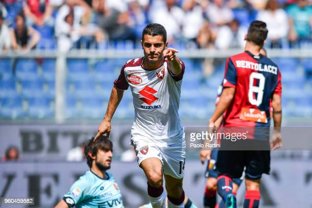Iago Falque of Torino celebrates after scoring a goal during the serie A match between Genoa CFC and Torino FC at Stadio Luigi Ferraris on May 20...