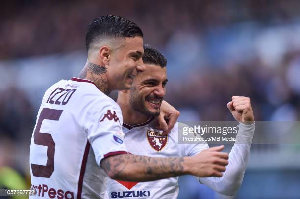 Iago Falque of Torino celebrates scoring the goal with team mates during the Serie A match between UC Sampdoria and Torino FC at Stadio Luigi...