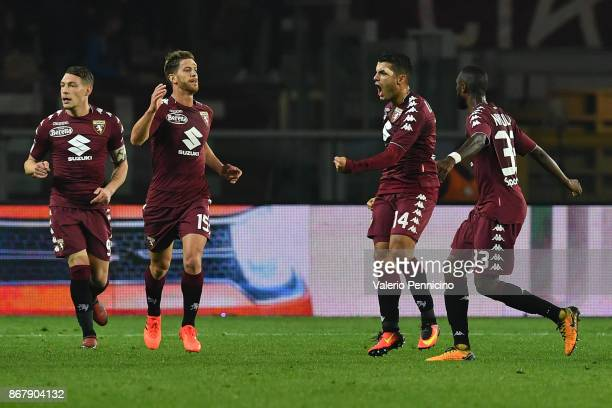Iago Falque of Torino FC celebrates a goal during the Serie A match between Torino FC and Cagliari Calcio at Stadio Olimpico di Torino on October 29...
