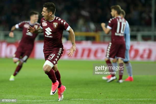 Iago Falque of Torino FC celebrates after scoring a goal during the Serie A football match between Torino FC and Uc Sampdoria The match ended in a 11...