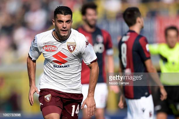 Iago Falque of Torino FC celebrates after scoring the opening goal during the Serie A football match between Bologna FC and Torino FC The match ended...