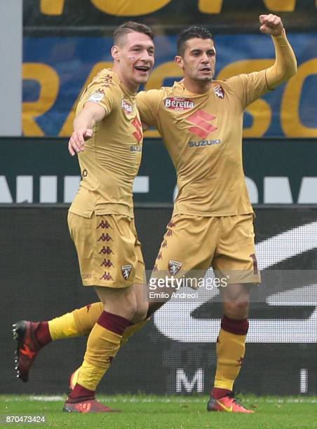 Iago Falque of Torino FC celebrates with his teammate Andrea Belotti after scoring the opening goal during the Serie A match between FC...