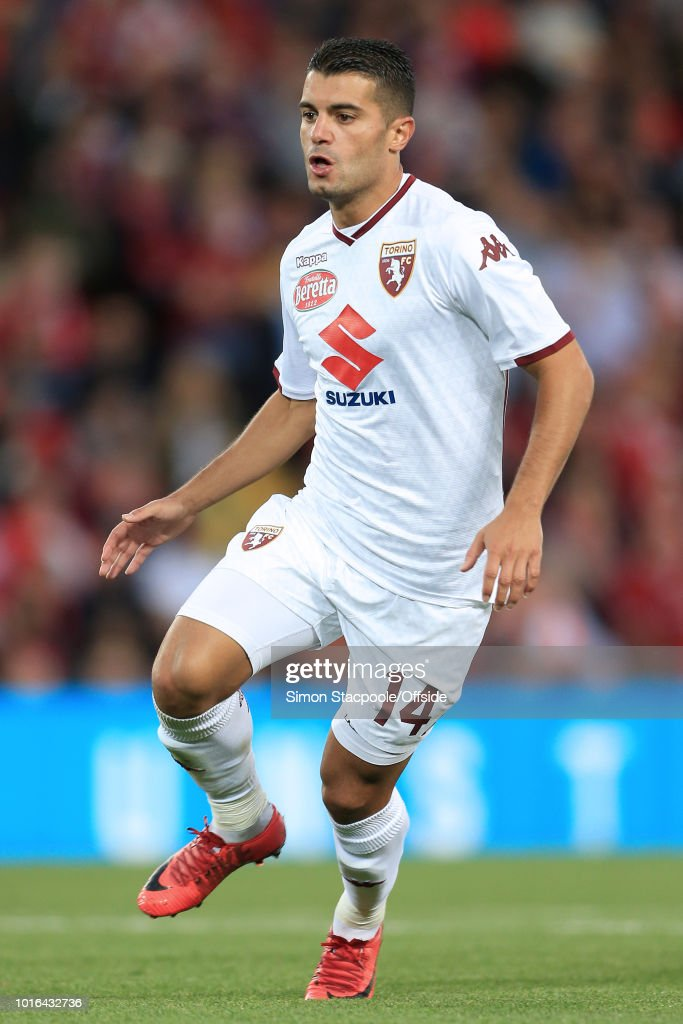 Iago Falque of Torino in action during the pre-season friendly match between Liverpool and Torino at Anfield on August 7, 2018 in Liverpool, England.