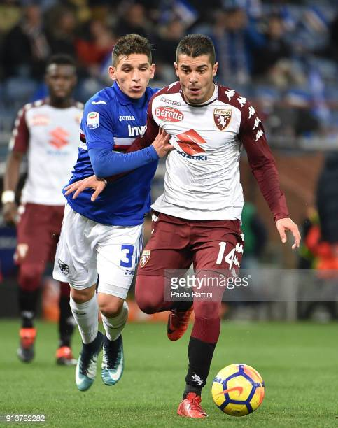 Iago Falque of Torino opposed to Lucas Torreira of Sampdoria during the serie A match between UC Sampdoria and Torino FC at Stadio Luigi Ferraris on...