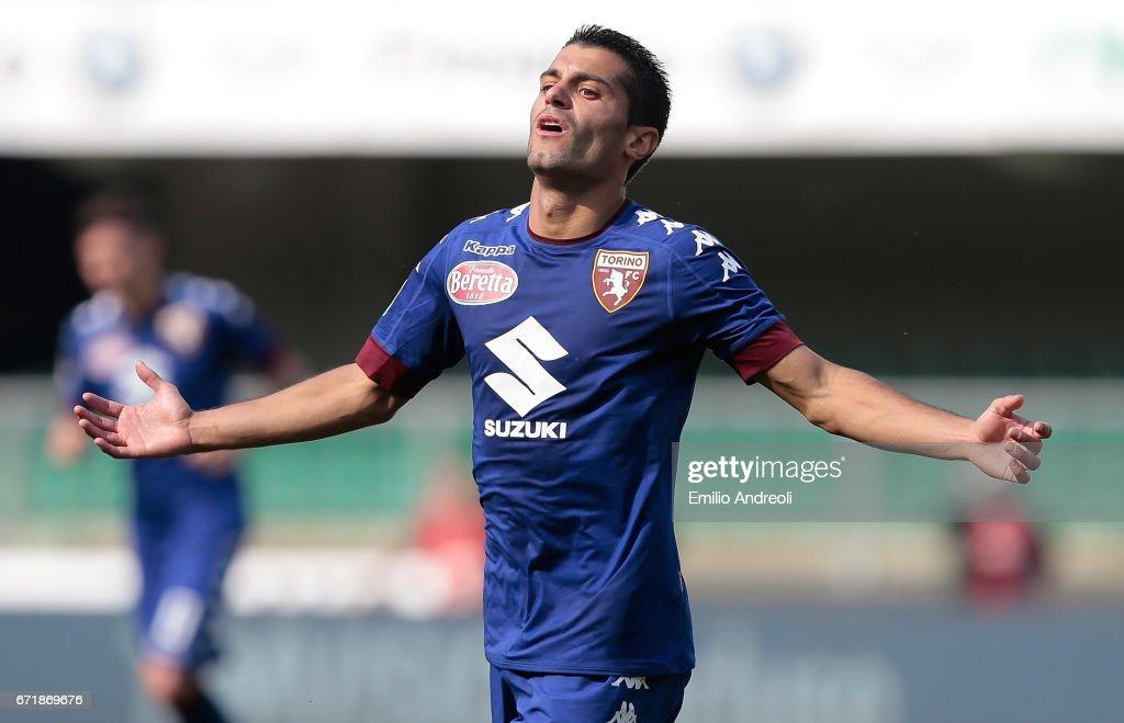 Iago Falque Silva of Torino FC celebrates his goal during the Serie A match between AC ChievoVerona and FC Torino at Stadio Marc'Antonio Bentegodi on April 23, 2017 in Verona, Italy.