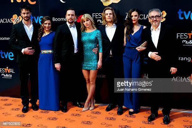 Iago Gracia, Sheila Farinas, Roger Berruezo, Sara Miquel, Jaime Olias, Cristina Abad and David Muro attend 'Acacias 38' photocall during FesTVal...