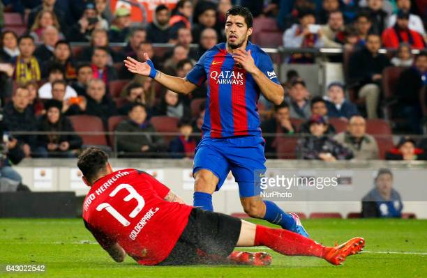 Iago Herrerin and Luius Suarez during La Liga match between FC Barcelona v CD Leganes in Barcelona on February 19 2017