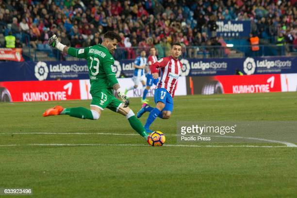Iago Herrerin goalkeeper of CD Leganes Atletico de Madrid wons 2 to 0 in the South Madrid Derby over CD Leganes two Goals of Fernando Torres