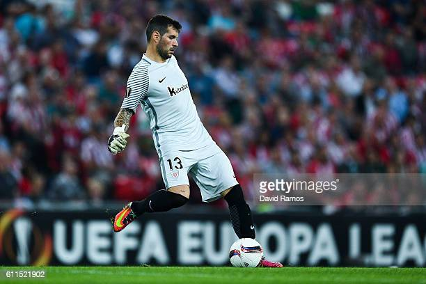 Iago Herrerin of Athletic Club in action during the UEFA Europa League Group F match between Athletic Club and SK Rapid Wien at San Mames stadium on...