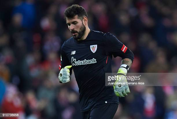 Iago Herrerin of Athletic Club looks on during the La Liga match between Athletic Club and Eibar at Estadio San Mames on January 26 2018 in Bilbao