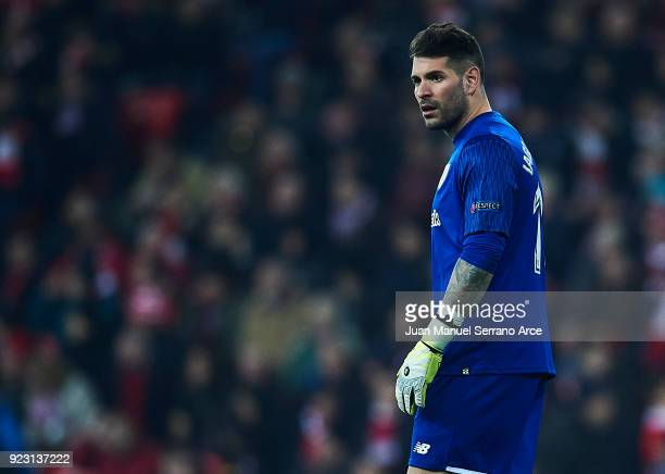 Iago Herrerin of Athletic Club looks on during UEFA Europa League Round of 32 match between Athletic Bilbao and Spartak Moscow at the San Mames...