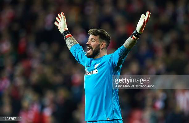 Iago Herrerin of Athletic Club reacts during the La Liga match between Athletic Club and FC Barcelona at San Mames Stadium on February 10 2019 in...