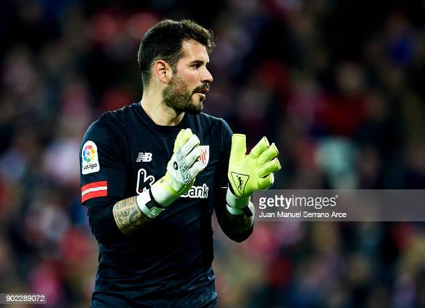 Iago Herrerin of Athletic Club reacts during the La Liga match between Athletic Club Bilbao and Deportivo Alaves at San Mames Stadium on January 7...