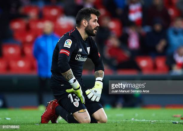 Iago Herrerin of Athletic Club reacts during the La Liga match between Athletic Club and Eibar at Estadio San Mames on January 26 2018 in Bilbao