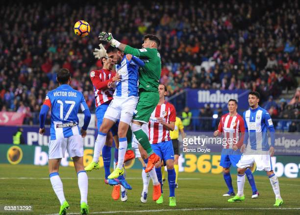 Iago Herrerin of CD Leganes tries to catch a high ball during the La Liga match between Club Atletico de Madrid and CD Leganes at Vicente Calderon...