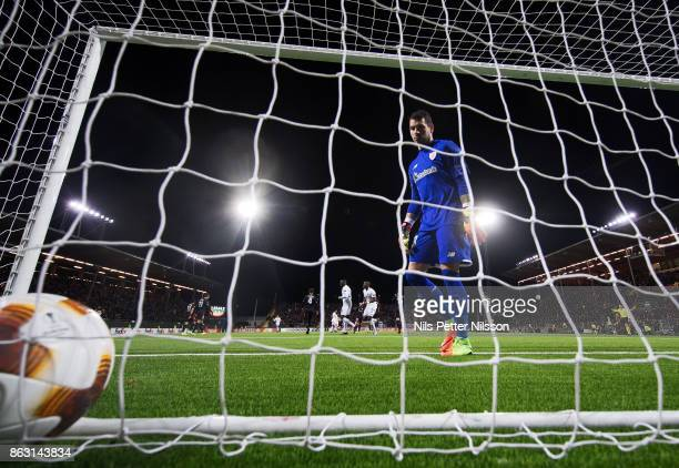 Iago Herrerín goalkeeper of Athletic Bilbao looks at the ball after Curtis Edwards of Ostersunds FK has scored to 21 during the UEFA Europa League...