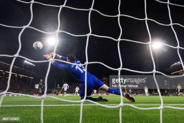 Iago Herrerín goalkeeper of Athletic Bilbao makes a save during the UEFA Europa League group J match between Ostersunds FK and Athletic Bilbao at...