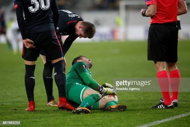 Iago Herrerín of Athletic Bilbao is seen after an injury during the UEFA Europa League Group J soccer match between Zorya Luhansk and Athletic Bilbao...