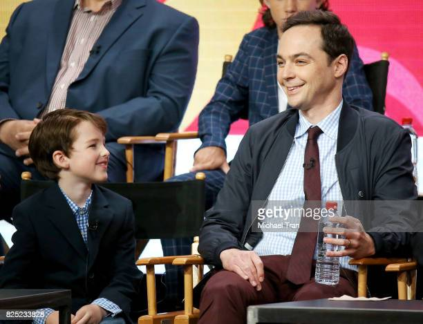 Iain Armitage and Jim Parsons of 'Young Sheldon' speak onstage during the 2017 Summer TCA Tour CBS Panels held at Various Locations on August 1 2017...