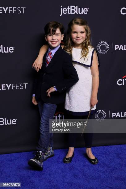 Iain Armitage and Raegan Revord attend PaleyFest Los Angeles 2018 The Big Bang Theory and Young Sheldon at Dolby Theatre on March 21 2018 in...