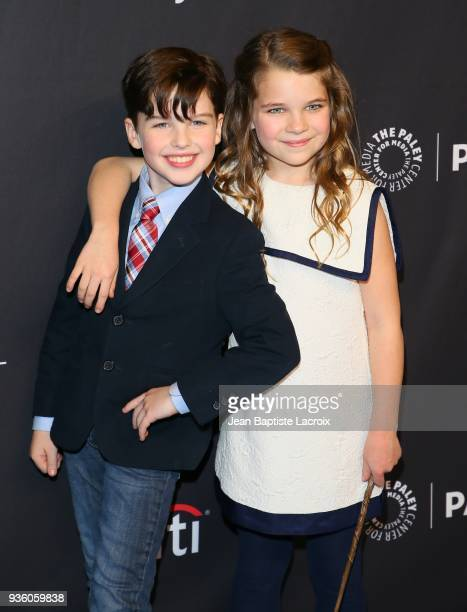 Iain Armitage and Raegan Revord attend the 2018 PaleyFest Los Angeles CBS's 'The Big Bang Theory' And 'Young Sheldon' on March 21 2018 in Hollywood...