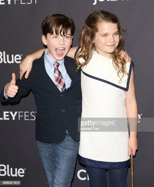 Iain Armitage and Raegan Revord attend the 2018 PaleyFest Los Angeles CBS's The Big Bang Theory and Young Sheldon held at Dolby Theatre on March 21...