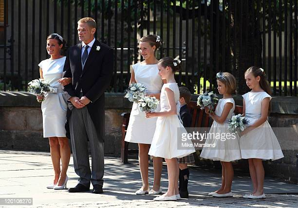 Iain Balshaw and Dolly Maude depart after the Royal wedding of Zara Phillips and Mike Tindall at Canongate Kirk on July 30 2011 in Edinburgh Scotland...