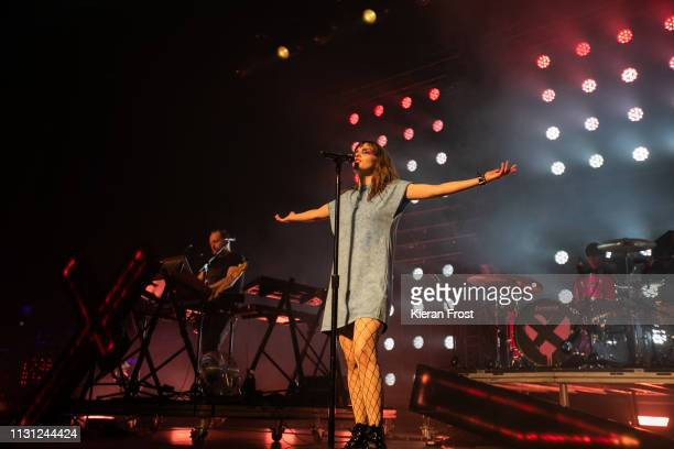 Iain Cook and Lauren Mayberry of CHVRCHES at performs at the Olympia Theatre on February 21 2019 in Dublin Ireland
