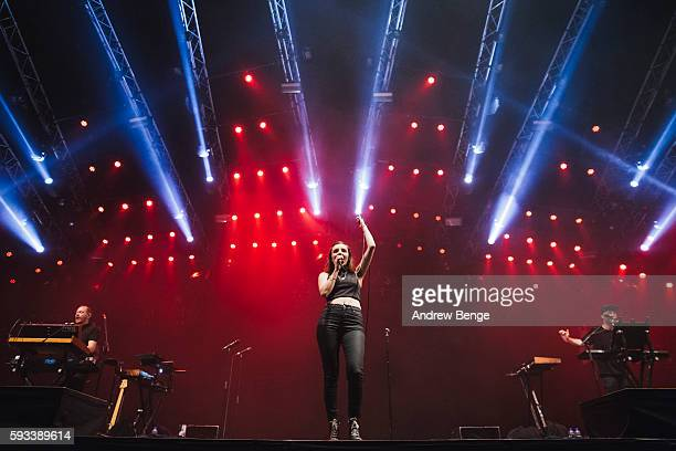 Iain Cook Lauren Mayberry and Martin Doherty of Chvrches perform on the Heineken Stage during day 1 of Lowlands Festival 2016 on August 19 2016 in...