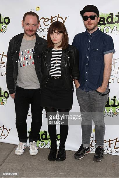 Iain Cook Lauren Mayberry and Martin Doherty of Chvrches pose at the 5th Annual 1045 Summer Block Party at the Piazza At Schmidt's May 3 2014 in...