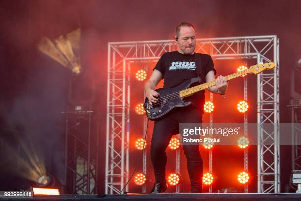 Iain Cook of CHVRCHES performs on stage during TRNSMT Festival Day 5 at Glasgow Green on July 8 2018 in Glasgow Scotland