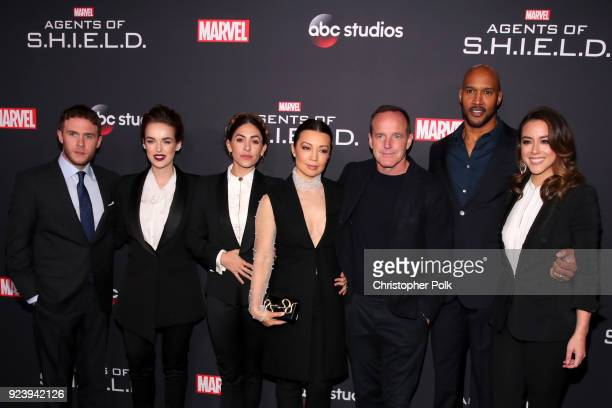 Iain De Caestecker, Elizabeth Henstridge, Natalia Cordova-Buckley, Ming-Na Wen, Clark Gregg, Henry Simmons and Chloe Bennet attend the 100th episode...