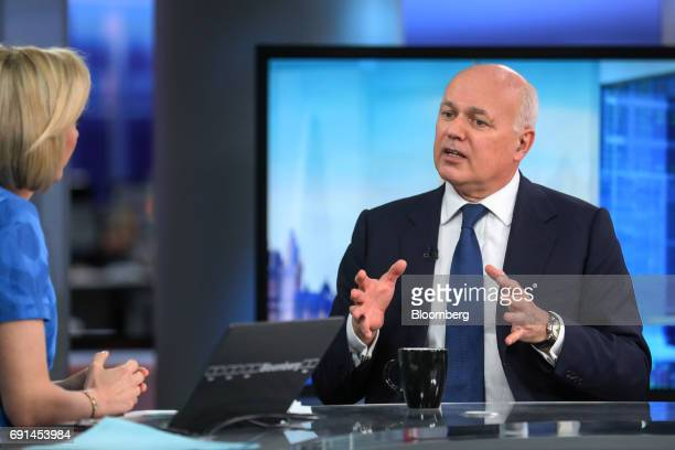 Iain Duncan Smith former leader of the UK Conservative Party gestures while speaking during a Bloomberg Television interview in London UK on Friday...