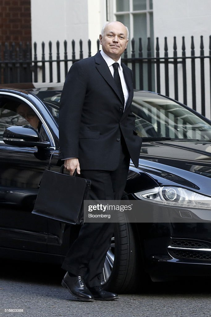 Iain Duncan Smith, U.K. work and pensions secretary, arrives in Downing Street in London, U.K., on Wednesday, March 16, 2016. U.K. Chancellor of the Exchequer George Osborne is set to unveil sweeping education reforms in his Budget on Wednesday as he seeks to sweeten the pill of austerity three months before the referendum on European Union membership. Photographer: Simon Dawson/Bloomberg via Getty Images