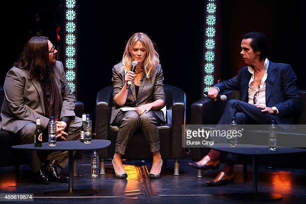 Iain Forsyth, Edith Bowman and Nick Cave discuss 20,000 Days on Earth on stage at the gala preview of 20,000 Days on Earth at Barbican Centre on...