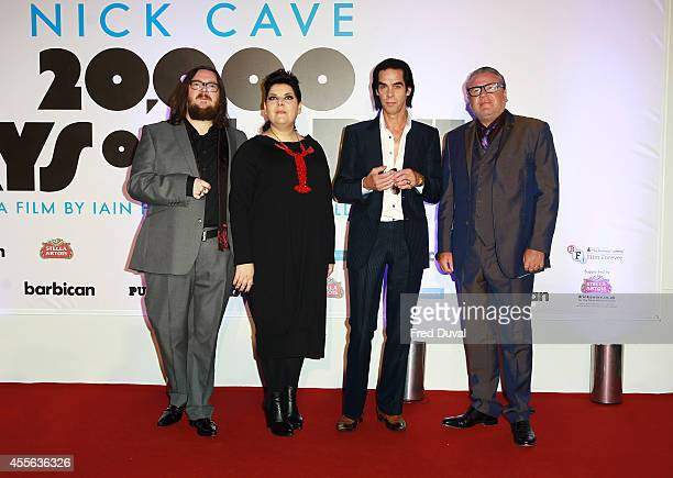 Iain Forsyth Jane Pollard Nick Cave and Ray Winstone attend the premiere of 20000 Days on Earth at Barbican Centre on September 17 2014 in London...