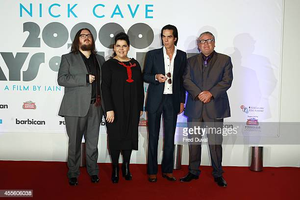 Iain Forsyth Jane Pollard Nick Cave and Ray Winstone attends the 20000 Days on Earth screening at Barbican Centre on September 17 2014 in London...