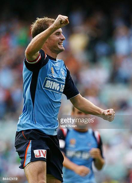 Iain Fyfe of Sydney Celebrates scoring a goal during the round 21 ALeague match between Sydney FC and the Newcastle Jets held at the Sydney Football...