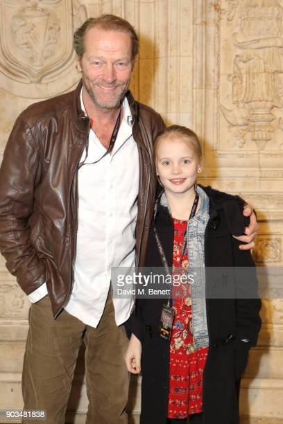 Iain Glen and daughter attend the Opening Night performance of 'Cirque Du Soleil OVO' at the Royal Albert Hall on January 10 2018 in London England