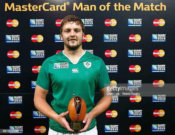 Iain Henderson of Ireland poses with the Man of the Match award during the 2015 Rugby World Cup Pool D match between Ireland and Italy at the Olympic...