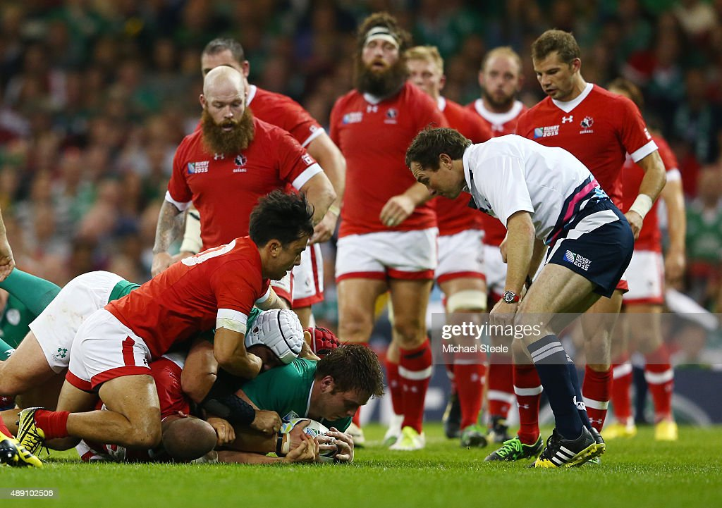 Iain Henderson of Ireland scores his teams second try during the 2015 Rugby World Cup Pool D match between Ireland and Canada at the Millennium Stadium on September 19, 2015 in Cardiff, United Kingdom.