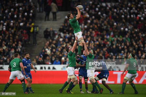Iain Henderson of Ireland wins a line out during the NatWest Six Nations match between France and Ireland at Stade de France on February 3 2018 in...