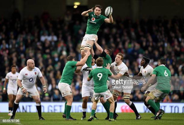Iain Henderson of Ireland wins lineout ball during the RBS Six Nations match between Ireland and England at the Aviva Stadium on March 18 2017 in...